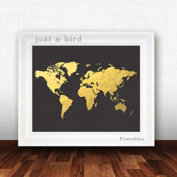 Faux gold foil world map poster print, gold map printable, gold and black, modern art print,printable world map, wanderlust-INSTANT DOWNLOAD