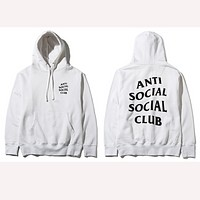 ANTI SOCIAL SOCIAL CLUB printed sweater men and women tide brand street fashion couple hooded jacket White