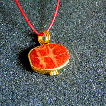 Beautiful 18k gold, sterling silver and coral charm-Gemstone gold charms-Coral jewelry-Yellow gold pendant-Artisan jewelry-Greek art