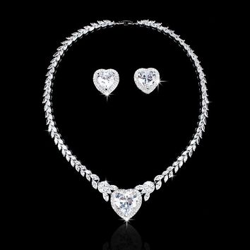 Stunning Large Heart Cubic Zirconia CZ Crystal Necklace and Earring Wedding Jewelry Sets for Bride