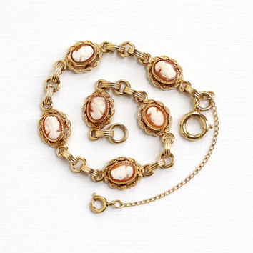 Vintage 12k Yellow Gold Filled Cameo Bracelet - 1940s Carved Genuine Shell Cameo Oval Linked Panel Victorian Style Jewelry