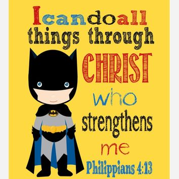 Batman Superhero Christian Nursery Decor Print, I Can Do All Things Through Christ Who Strengthens Me - Philippians 4:13