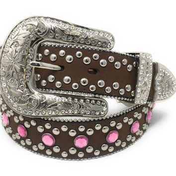 MDIGYW3 Blazin Roxx Brown Leather & Pink Rhinestone Belt