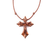 Wooden Cross Necklace, Wood Cross Pendant, Men Cross Necklace, Christian Jewelry, Wood Pendant, Wood Jewelry, Hand Carved Cross, Wood Cross