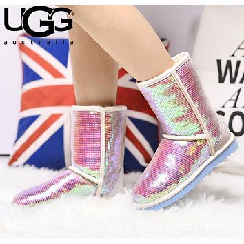 UGG Fashion Women Men Sequins Flats Wool Snow Boots Half Boots Shoes Pink