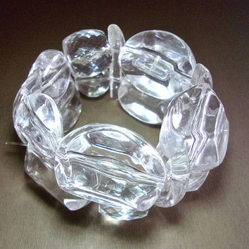 Huge Clear Lucite 2-Row Stretch Bracelet, Biomorphic Shapes, Chunky Vintage