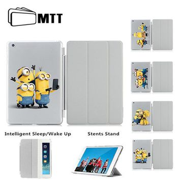 Minions Taking Photo Hot sale Cover For iPad Air 1 2 Smart Case Tablet Leather Cover For Apple iPad 5 6 Case New fashion hotsale