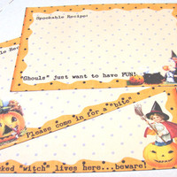 Halloween Recipe Cards - Set of 12 - Retro Recipe Cards -Spookable Cards - Holiday Recipes - Vintage Look - Funny Sayings - Orange And Black