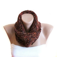 Chunky knitted scarf, brown winter fashion scarves, infinity scarf, handmade scarf, cowl, womens fashion, men's scarves