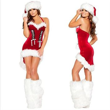 Women Fashion Backless Sleeveless Halter Mini Dress Christmas Clothes Party Uniform Set