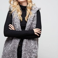 Fluffy Cloud Sherpa Vest - Gray