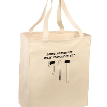 Zombie Apocalypse Melee Weapons Expert Large Grocery Tote Bag