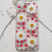 Handmade Real  natural pressed daisy flowers iphone 6 6 plus case iphone 4s 5 5s 5c case samsung galaxy s5 note2 note3 case white w red rose