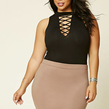 Plus Size Cutout-Front Bodysuit