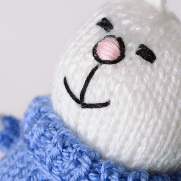 Handmade knitted soft toy smiling white bunny in blue sweater Cute gift for baby
