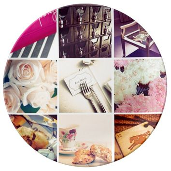 Custom Instagram Photo Collage Porcelain Plate