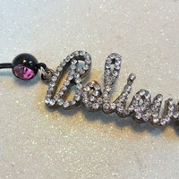 Belly button ring, belly ring w crystal rhinestone Believe charm 14ga