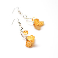 Celosia Orange Earrings, Fall Earrings, Gift Ideas, Holiday Gift, Yellow Dangle Party Earrings with Champagne Quartz Ice Flakes Wire Jewelry