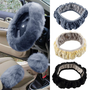 3 pcs/set Charm Warm Long Wool Plush car Steering Wheel Cover woolen Car Handbrake Accessory hot selling