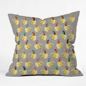 Bianca Green Anna Banana Outdoor Throw Pillow