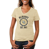 Marquette Golden Eagles Ladies Old-School Seal Tri-Blend V-Neck T-Shirt - White