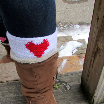 Valentine's Day Boot Cuffs, Heart Boot Socks, Adjustable Boot Toppers, Buttoned Leg Warmers