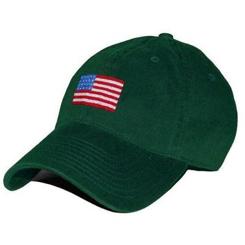 American Flag Needlepoint Hat in Hunter Green by Smathers & Branson