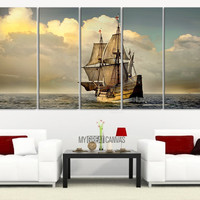 Large Wall Art Old Wood Ship Canvas Print - Battleship Canvas - Historic Wooden Sailing Warship Wall Art Canvas - MC05