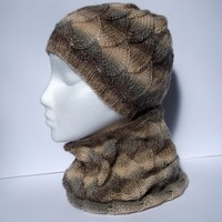 Women's hand knitted brown infinity cowl neckwarmer and beanie hat set