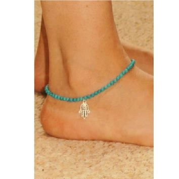 Beaded Hasma Anklet