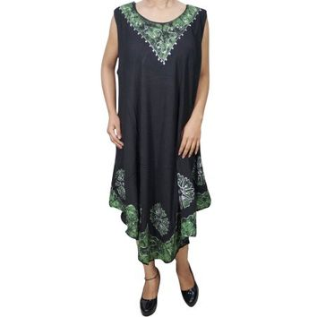 Mogul Womens Beach Breeze Cover Up Tank Dress Summer Party Sleeveless Casual Swing Umbrealla Batik Embroidered Loose Beachwear Sundress - Walmart.com
