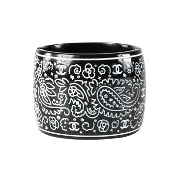 Chanel Crystal Cuff CC Paisley Wide Bracelet - Black & White Carved Bangle 09P