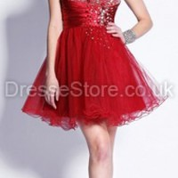 A-line Strapless Tulle Short/Mini Red Rhinestone Prom Dress at dressestore.co.uk