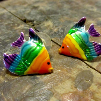 Vintage 90's Rainbow Fish Earrings, Club Kid Bold Pride Lisa Frank Style