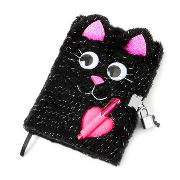 Fuzzy Black Cat Lock Diary