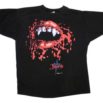 Vintage Bram Stoker's Dracula Fangs Black T-Shirt XL X-Large Francis Ford Coppola Vampire