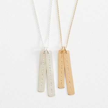 morse code sister + friend necklace