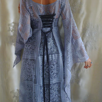 Sorcery Dress... Size Medium... boho hippie witch wizard sleeve lace vintage free people gothic alternative bridesmaid wedding costume