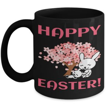 Happy Easter Fun Kid Mug Cup For Children Black Bpa Free Chocolate Cookies Jar Coloring Marker Holder Drink Mugs For Cocoa Milk Juice Best Affordable Holiday Gift For Kids 2017 2018