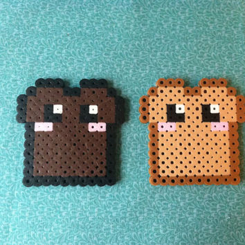 Kawaii Toast and Burnt Toast Perler Bead Magnet or keychain