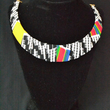 Black, White, Blue, and Colored Ankara Necklace