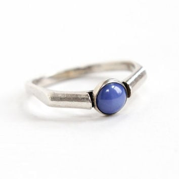 Vintage Sterling Silver Created Star Sapphire Ring - 1960s Retro Size 9 1/4 Statement Modernist Blue Synthetic Stone Cabochon Jewelry