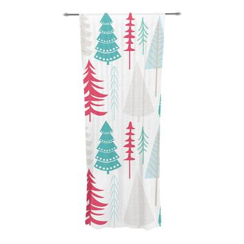 """KESS Original """"Happy Forest Red"""" Blue Decorative Sheer Curtain - Outlet Item"""