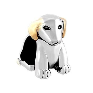 Love Lovely Two Tone Cute Pet Beagle Puppy Dog Jewelry Beads Fit Pandora Charms Bracel