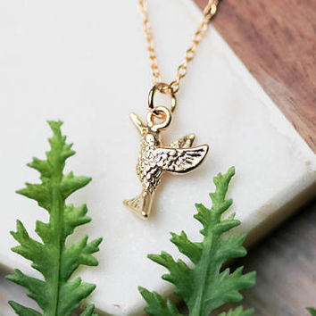 Dainty hummingbird necklace | Gold plated layering necklace | Gifts for her under 20 | Bird necklace | Gifts for mom | Mother's day necklace