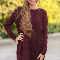 Keep Me Close Sweater Dress - Burgundy