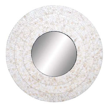 Capiz Round Decorative Mirror
