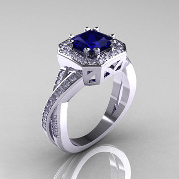 Classic 14K White Gold 1.23 CT Princess Blue Sapphire Diamond Engagement Ring R189P-14KWGDBS