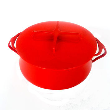 Dansk Kobenstyle - Mid Century 1950s Danish Modern Cooking Pot - Red Enamelware - Designed by Jens Quisgaard with Early 4 Ducks Logo