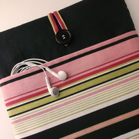 Mac Book Air or Pro case 13 cord pocket, 13 inch MacBook Laptop sleeve, Protective Bag, Cover, Accessory Pocket, Pink Cabana Stripes